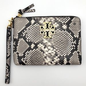 Tory Burch - Britten Large Zip Pouch -Snake (Grey)
